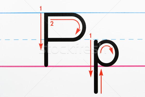 List piśmie praktyka litera p pismo Zdjęcia stock © iofoto