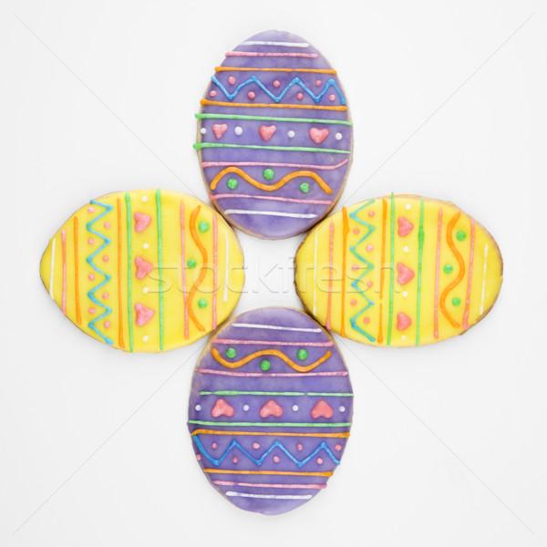Húsvéti tojás cukor sütik négy dekoratív cukormáz Stock fotó © iofoto