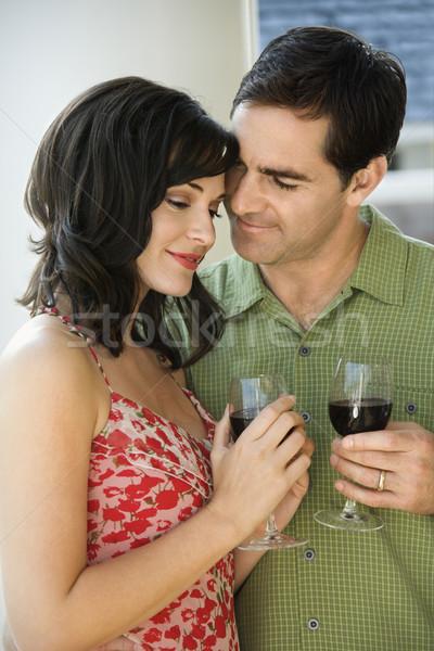Casal potável vinho tinto homem mulher agir Foto stock © iofoto