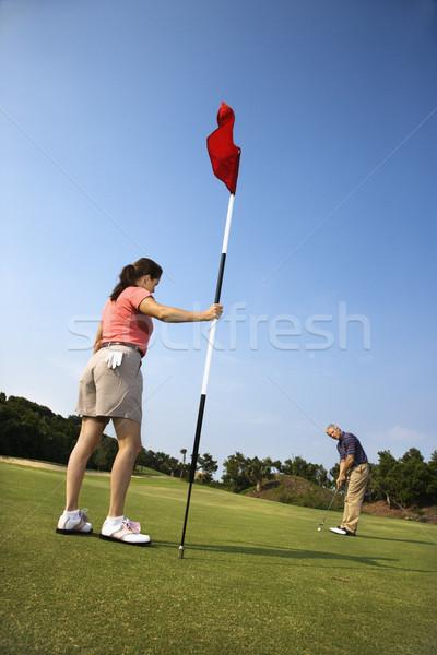 Stockfoto: Paar · spelen · golf · man · golfbal · vrouw