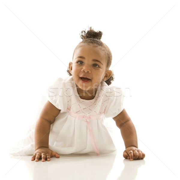 Zdjęcia stock: Portret · niemowlę · dziewczyna · biały · dzieci