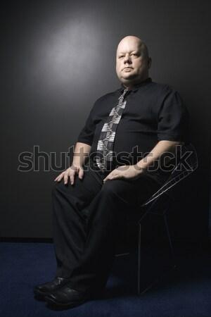 Férfi öltöny kaukázusi felnőtt kopasz visel Stock fotó © iofoto