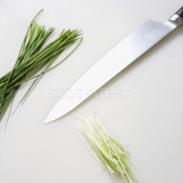 Bieslook mes vers keuken gezondheid Stockfoto © iofoto