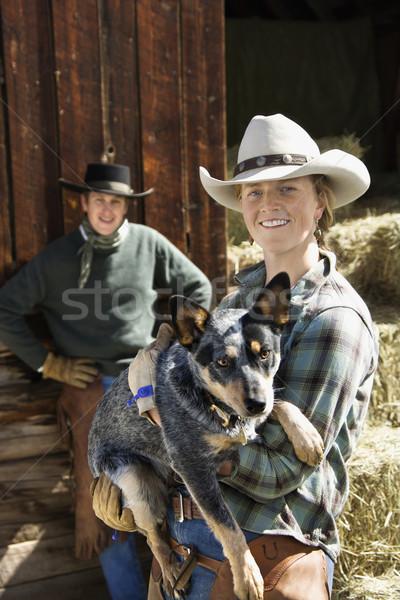 привлекательный ковбойской шляпе австралийский Сток-фото © iofoto