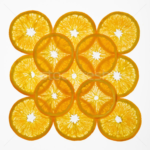 Foto stock: Frutas · diseno · naranja · rebanadas · cuadrados · blanco