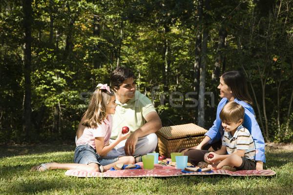 Rodziny piknik hiszpańskie parku kobieta uśmiech Zdjęcia stock © iofoto