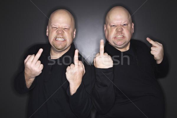 Férfiak középső ujj kaukázusi kopasz felnőtt Stock fotó © iofoto