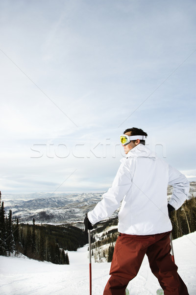 Skier on Mountain Overlooking Valley Stock photo © iofoto