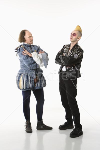Punk człowiek odzież gothic młody człowiek stałego Zdjęcia stock © iofoto