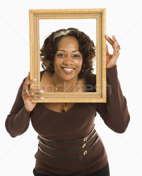 Kadın çerçeve boş etrafında kafa Stok fotoğraf © iofoto