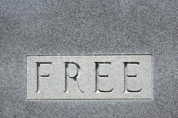 Word 'free' on gravestone. Stock photo © iofoto