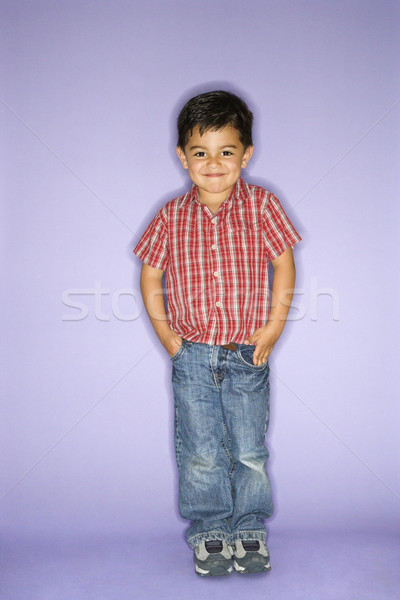 Boy acting shy. Stock photo © iofoto