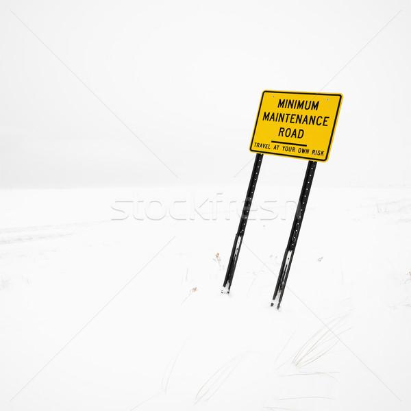 Placa sinalizadora nevasca inverno estrada neve Foto stock © iofoto