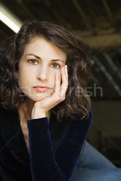 Mooie vrouw portret mooie volwassen kaukasisch vrouw Stockfoto © iofoto