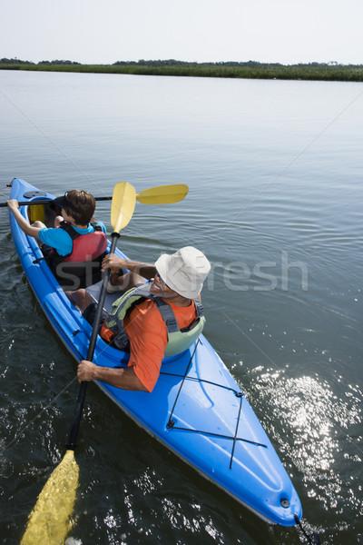 Widok z tyłu para sportowe jezioro Zdjęcia stock © iofoto