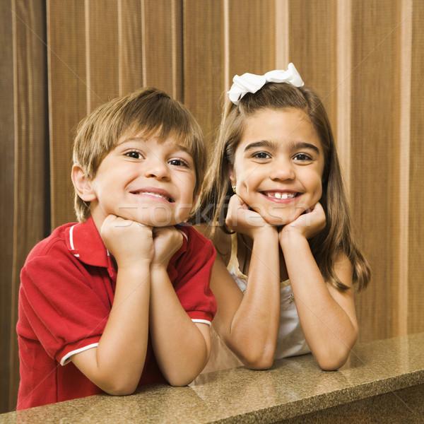 Hispanique portrait enfants tête mains Photo stock © iofoto