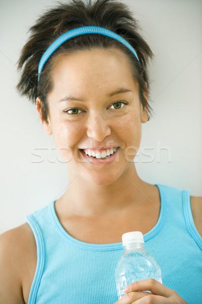Uśmiechnięty młodych kobieta fitness głowie ramię portret Zdjęcia stock © iofoto