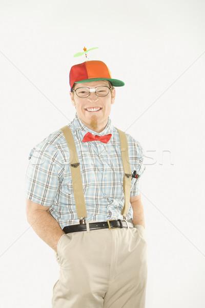 Man dressed like geek. Stock photo © iofoto