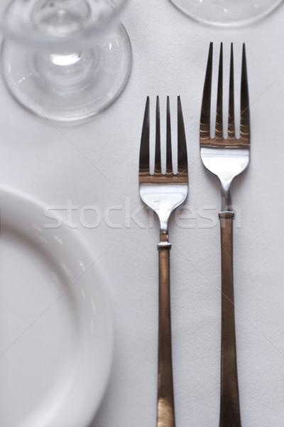 Eettafel twee vergadering witte tafelkleed verticaal Stockfoto © iofoto