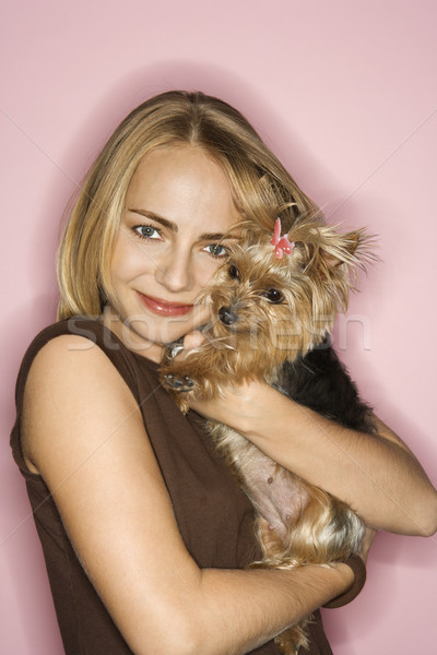 Woman with Yorkshire Terrier dog. Stock photo © iofoto