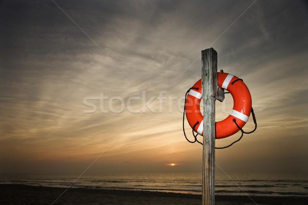 Stockfoto: Leven · strand · paal · zonsondergang · zon · oranje