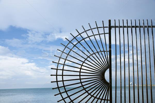 Wrought iron fence by ocean. Stock photo © iofoto