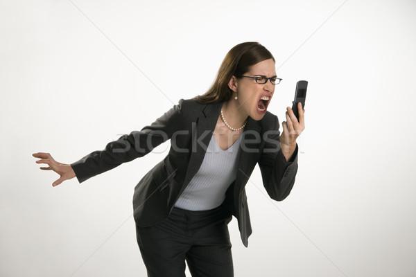 Vrouw mobiele telefoon kaukasisch volwassen professionele zakenvrouw Stockfoto © iofoto