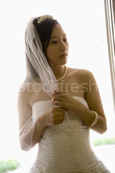 невеста вуаль портрет азиатских женщину Сток-фото © iofoto