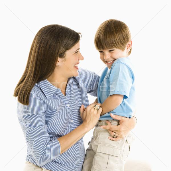 Stock fotó: Anya · fiú · tart · nevet · fehér · mosoly