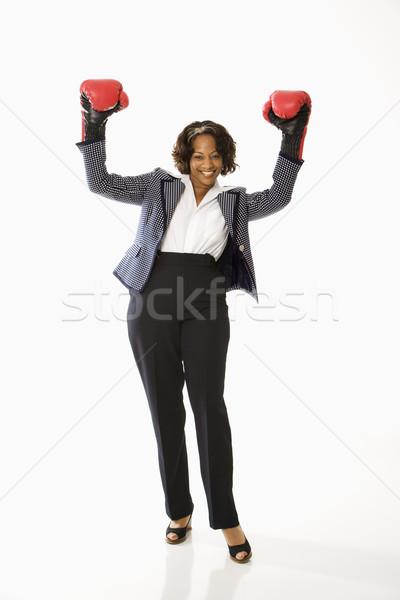 Imprenditrice indossare guantoni da boxe braccia Foto d'archivio © iofoto