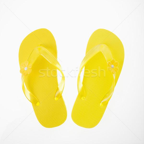 Geel plastic thong sandalen mode Stockfoto © iofoto