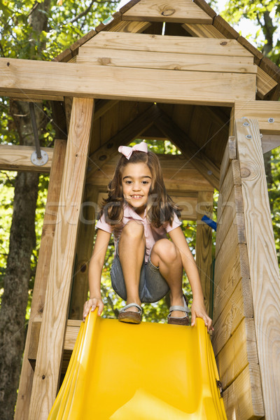 Girl on slide. Stock photo © iofoto