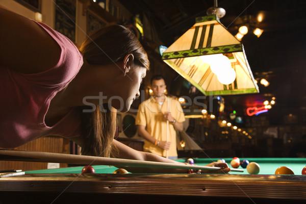 Stok fotoğraf: Genç · kadın · çekim · havuz · oynama · bilardo · genç