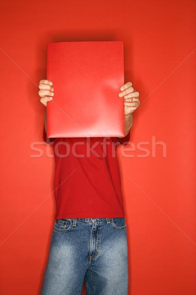 Stockfoto: Jongen · notebook · kaukasisch · gezicht · Rood