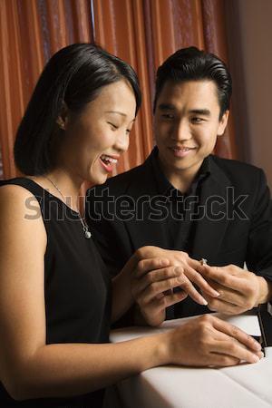Foto stock: Atraente · comprometido · jovem · asiático · homem