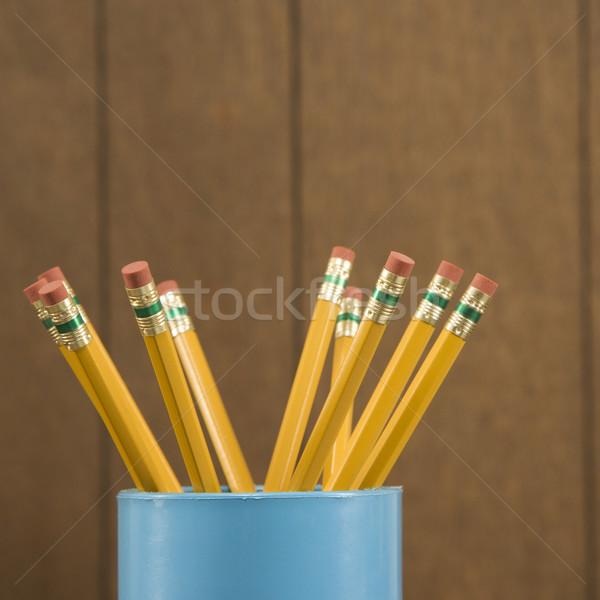 Fából készült ceruzák közelkép csésze ír Stock fotó © iofoto