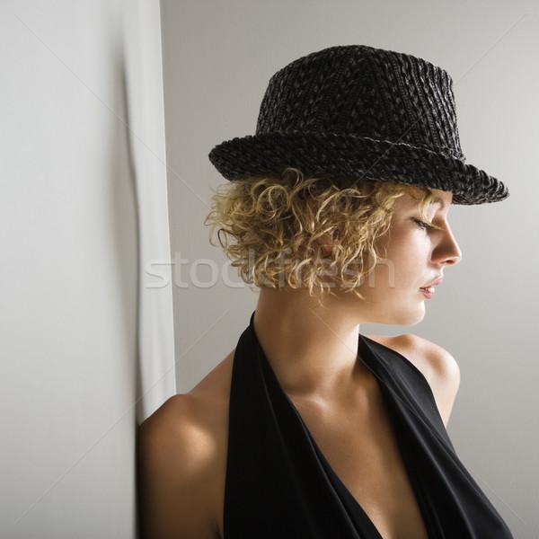 Kadın fötr şapka profil kafkas Stok fotoğraf © iofoto
