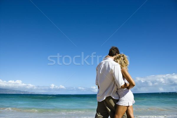 Intiem moment aantrekkelijk paar omarmen Hawaii Stockfoto © iofoto