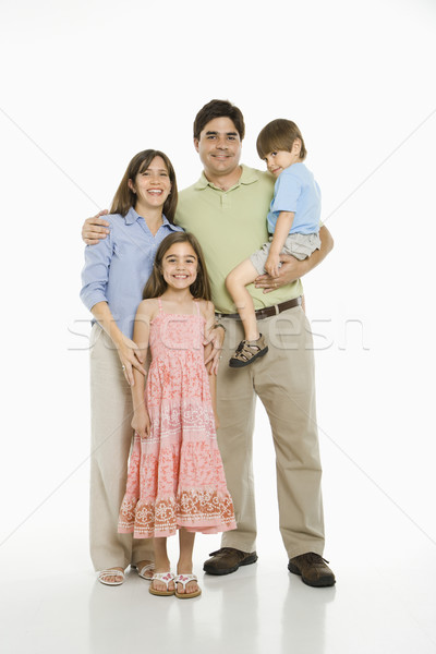 Hispanique famille permanent blanche sourire enfants Photo stock © iofoto