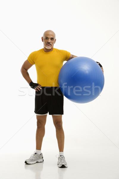 Adam egzersiz top yetişkin Stok fotoğraf © iofoto