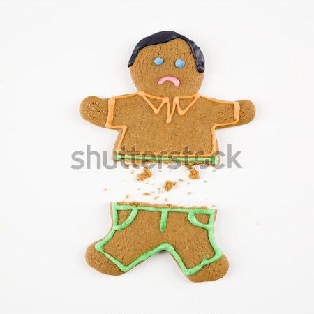 Stockfoto: Vrouwelijke · peperkoek · cookie · gingerbread · man · gelukkig · kleur