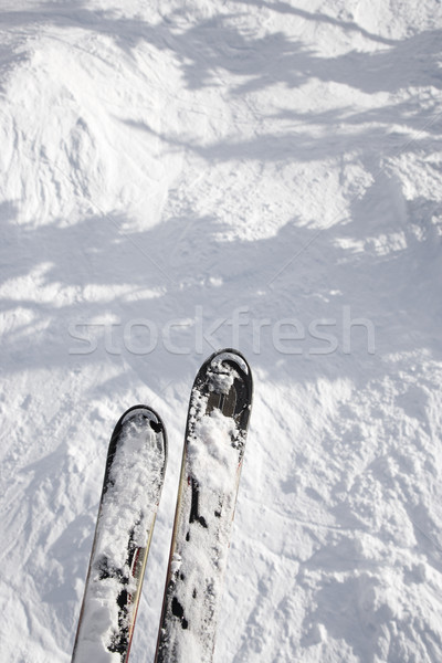 Skis hanging over drop. Stock photo © iofoto