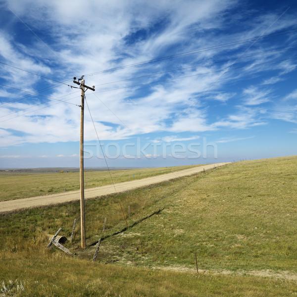 Távvezeték vidéki út földút Dél-Dakota felhő Stock fotó © iofoto
