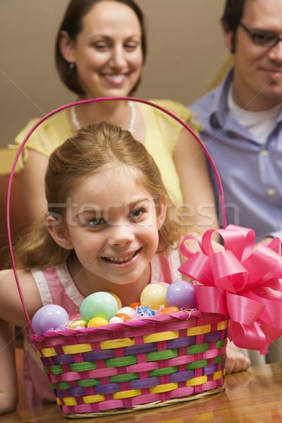 Lány húsvét kosár kaukázusi család mosoly Stock fotó © iofoto
