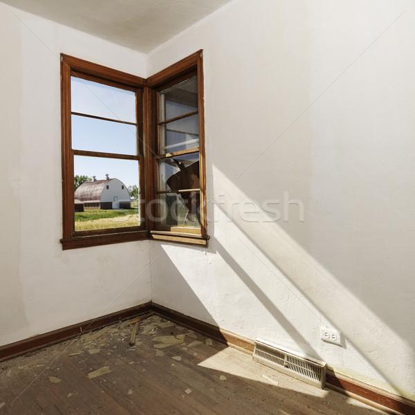 Okno pustym pokoju pusty opuszczony pokój Zdjęcia stock © iofoto