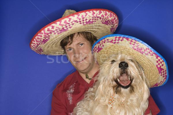 Сток-фото: собака · человека · пушистый · коричневая · собака · кавказский
