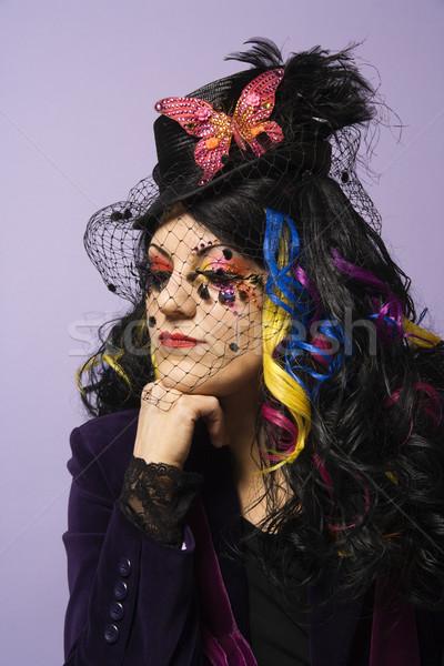 Vrouw hoofd hand portret kaukasisch uniek Stockfoto © iofoto
