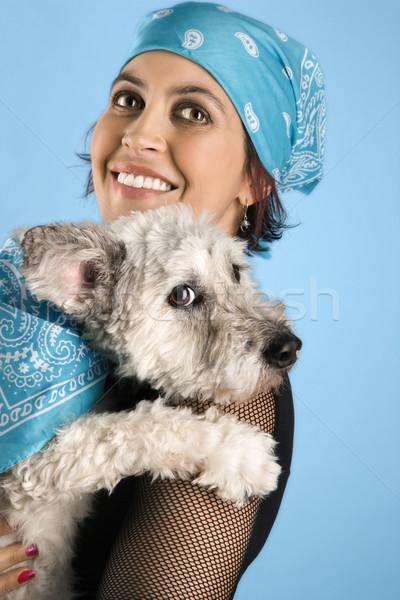 Mosolyog fiatal nő tart kutya spanyol nő Stock fotó © iofoto