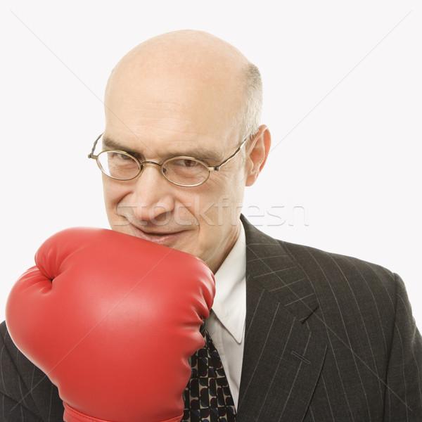бизнесмен боксерская перчатка кавказский руки Сток-фото © iofoto