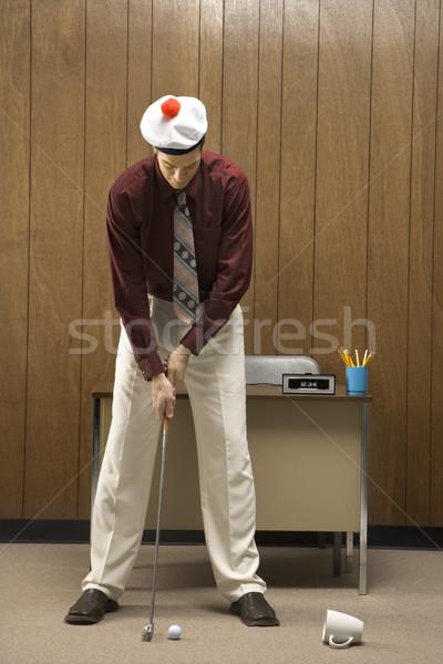 Golf iroda retro üzletember visel sapka Stock fotó © iofoto